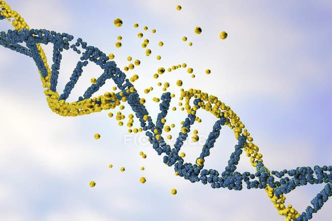 Daño de la molécula de ADN amarillo de color, trastorno genético ilustración conceptual . - foto de stock