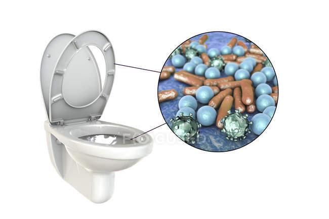 Microbios de inodoro enrasados en superficie contaminada, ilustración digital conceptual sobre fondo blanco . - foto de stock