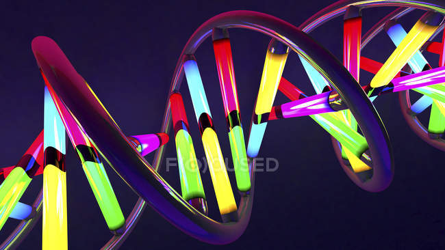 DNA molecule with multicolored elements, digital illustration. — Stock Photo