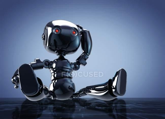 Roboterspielzeug sitzt auf reflektierender Oberfläche, digitale Illustration. — Stockfoto