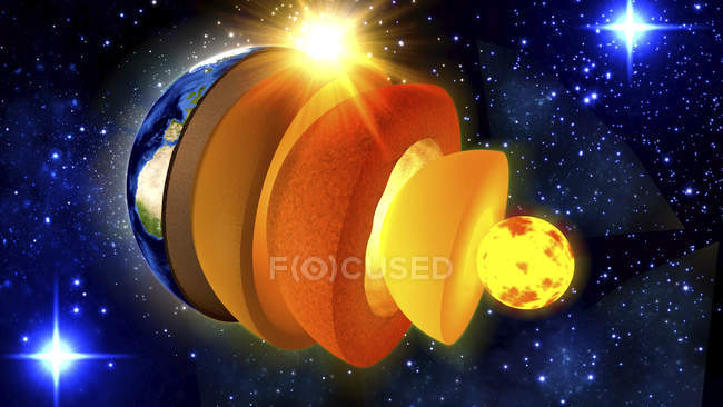 3d illustration of cross-section showing structure of Earth, from core to crust. — Stock Photo