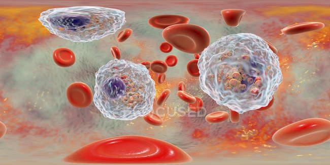 Illustration panoramique d'un vaisseau sanguin avec éosinophilie avec de nombreux éosinophiles globules blancs, système immunitaire anti-parasitaire . — Photo de stock