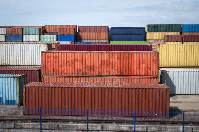 Shipping cargo containers at industrial inland port in UK. — Stock Photo