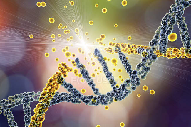 Colored yellow DNA molecule damage, genetic disorder conceptual illustration. — Stock Photo