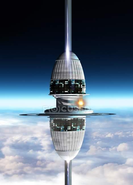 Простір ліфта над поверхнею планети, цифрова ілюстрація — стокове фото