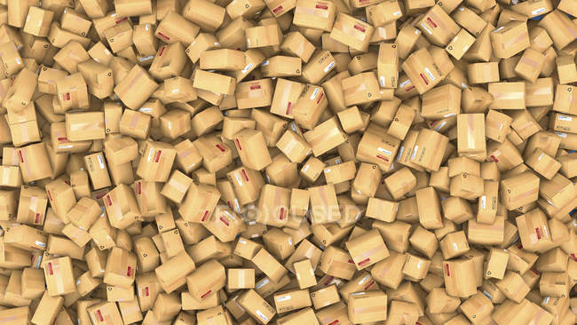 3d illustration of hundreds of cardboard parcels stacked in heap. — Stock Photo