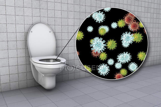 Toilet microbes on contaminated seat surface in water closet, conceptual digital illustration. — Stock Photo