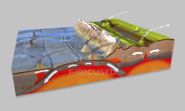 3D ілюстрація поперечного перерізу для пояснення субдукції та Тектоніка плит. — стокове фото