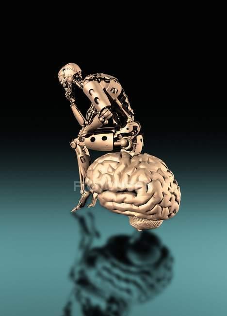 Robot sitting and thinking on brain, digital illustration. — Stock Photo