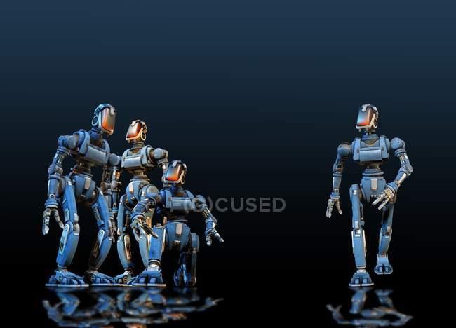 Robôs industriais no fundo preto, ilustração digital. — Fotografia de Stock