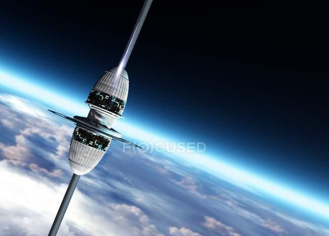 Космический лифт над поверхностью планеты, цифровая иллюстрация — стоковое фото