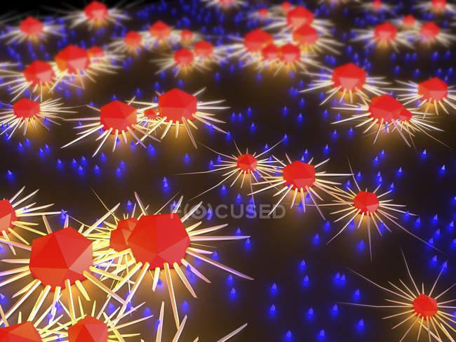 3d ilustración de linfocitos atacando las células cancerosas en el cuerpo humano . - foto de stock