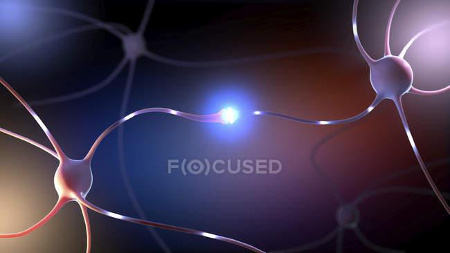 Абстрактні 3D ілюстрація нервових клітин з з'єднаннями в нервовій системі людини. — стокове фото
