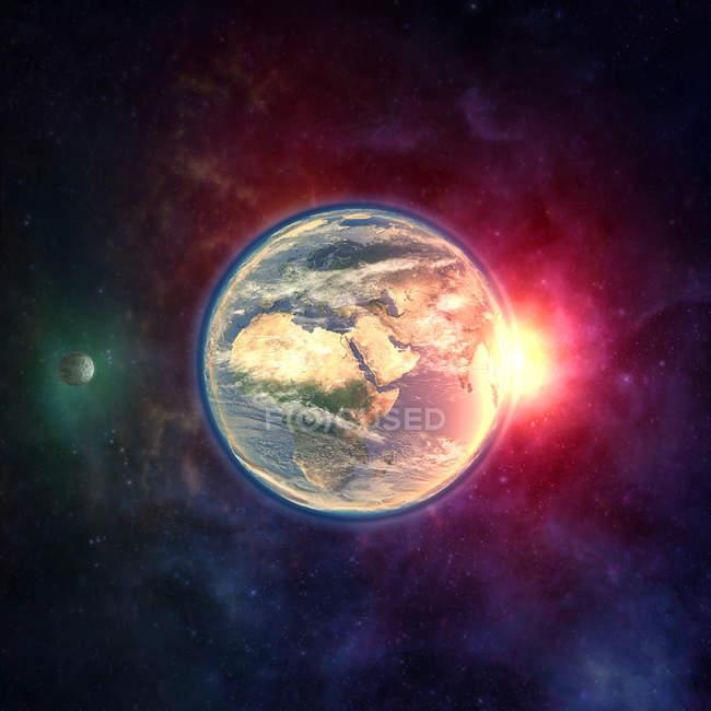 Terra del pianeta nello spazio con la luna, atmosfera e luce solare. — Foto stock