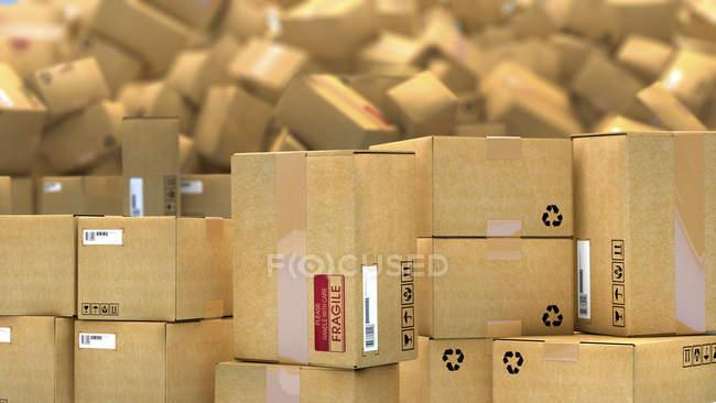 3d иллюстрация сотен картонных посылок, сложенных в кучу . — стоковое фото
