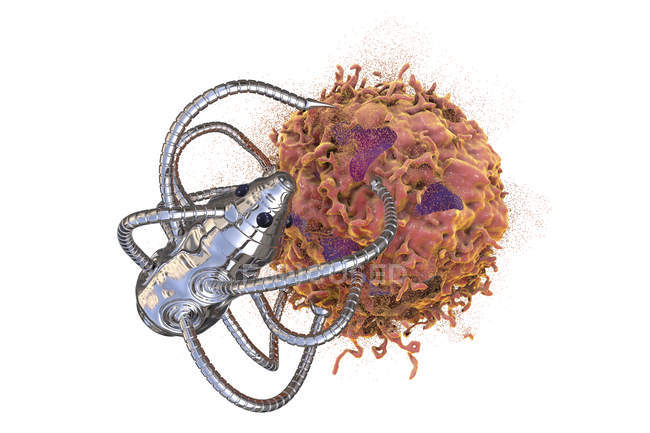 Conceptual digital illustration of medical nanorobot attacking cancerous cell. — Stock Photo