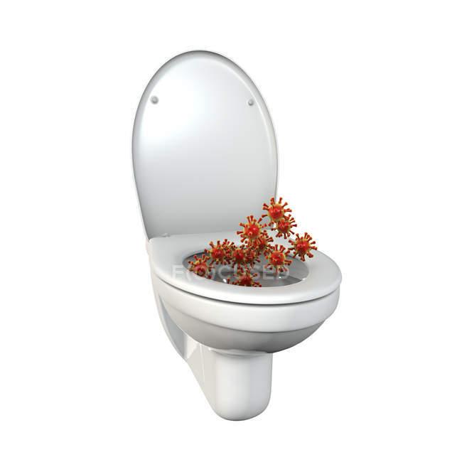 Microbios del asiento del inodoro, ilustración digital conceptual . — Stock Photo