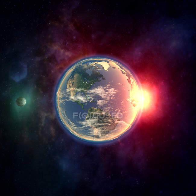 Planet Earth in outer space with Moon, atmosphere and sunlight. — Stock Photo