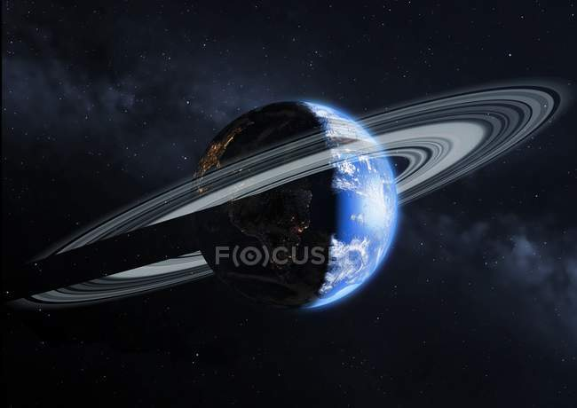 Illustration of Earth with ring system around equator in space with shadow. — Stock Photo