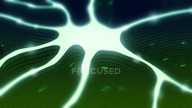 Ілюстрація нейрона представлена як абстрактна Цифрова конструкція, концептуальне представлення штучного інтелекту. — стокове фото