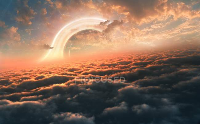Illustration of black hole seen from above clouds of orbiting planet. — Stock Photo