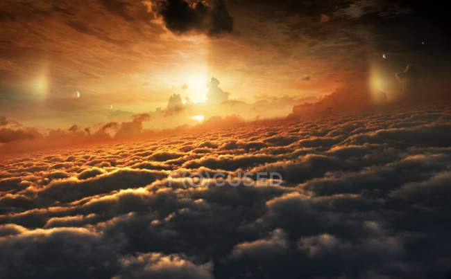 Illustration of clouds top of Jupiter towards Sun with Ganymede, Europa and Callisto moons. — Stock Photo