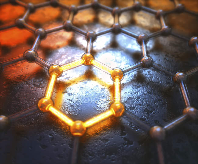 Graphene hexagonal structure with shining detail, digital illustration. — Stock Photo