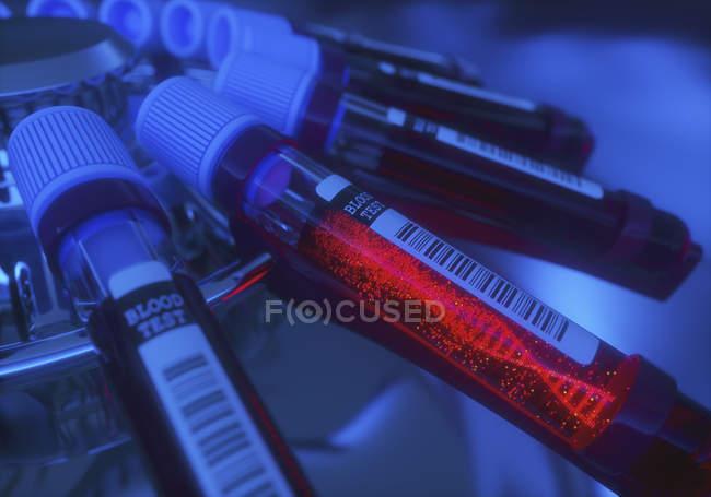 Campioni di sangue con molecola di DNA in centrifuga, ricerca genetica illustrazione digitale concettuale. — Foto stock