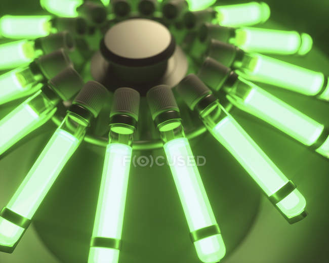 Green illumination of centrifuge with test tubes, biological research digital illustration. — Stock Photo