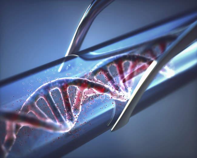Molecola di DNA in provetta, ingegneria genetica illustrazione digitale concettuale. — Foto stock