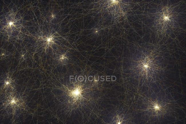 Нейронна мережа з підключеннями, Концептуальна Цифрова ілюстрація. — стокове фото