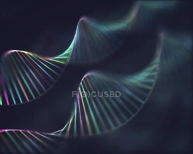 Molecole di Dna, illustrazione digitale astratta. — Foto stock