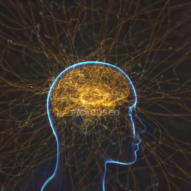 Red neuronal, ilustración digital conceptual . - foto de stock