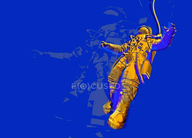 Astronauta giallo in tuta spaziale, illustrazione digitale astratta. — Foto stock