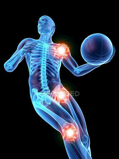 Silhouette humaine jouant au basket-ball avec des joints visibles, illustration numérique. — Photo de stock