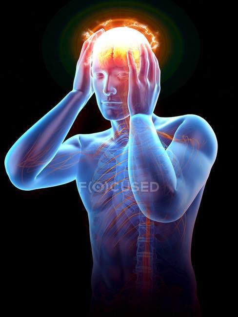 Silhouette humaine avec le mal de tête illuminé, illustration numérique. — Photo de stock