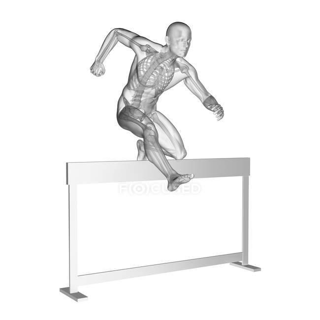 Silhouette humaine se précipitant avec le système squelettique visible, illustration numérique. — Photo de stock