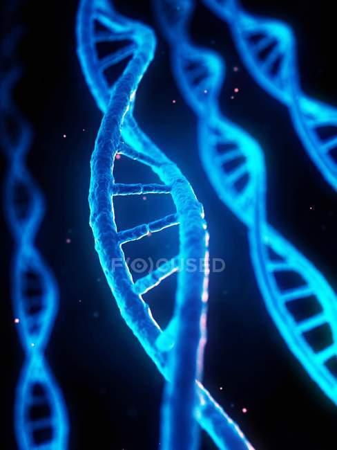 Brins ADN bleus, illustration numérique . — Photo de stock