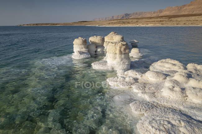 Rocce salate cristallizzate lungo la riva del Mar Morto, Israele. — Foto stock
