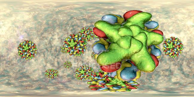 Частицы вируса гепатита В в 360-градусном панорамном представлении, цветные цифровые иллюстрации. — стоковое фото