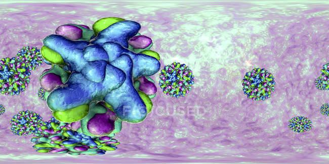 Hepatitis B virus particles in 360-degree panorama view, colored digital illustration. — Stock Photo