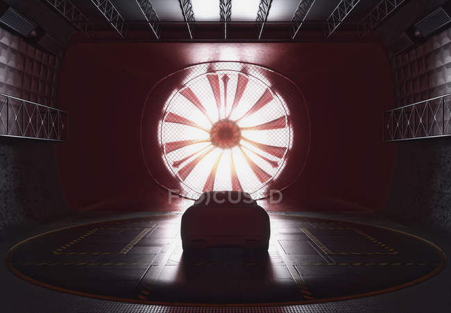 Car in wind tunnel, computer illustration. — Stock Photo