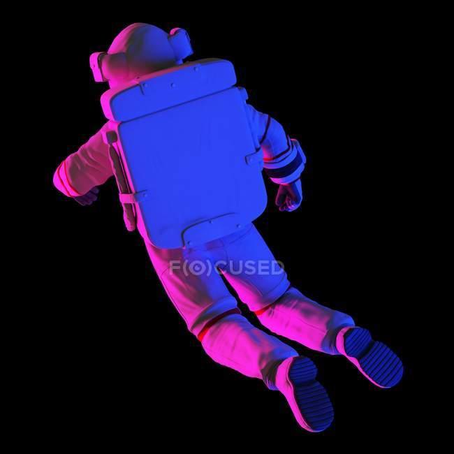 Астронавт плаває на чорному тлі, комп'ютерна ілюстрація. — стокове фото