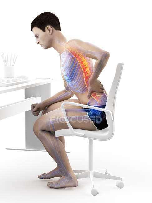 Сидя за силуэтом офисного работника с болью в спине, концептуальная иллюстрация . — стоковое фото