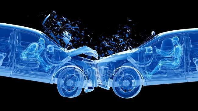 Pericoloso di incidente d'auto frontale, illustrazione digitale . — Foto stock
