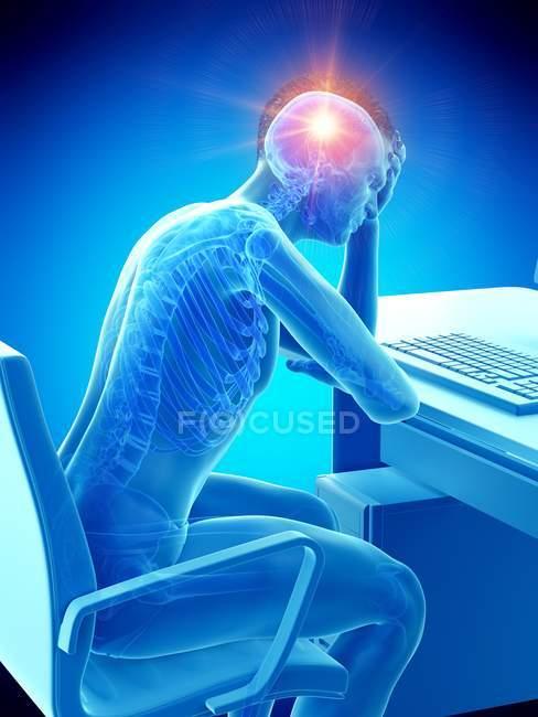 Консервативная иллюстрация офисного работника с головным убором на рабочем месте. — стоковое фото