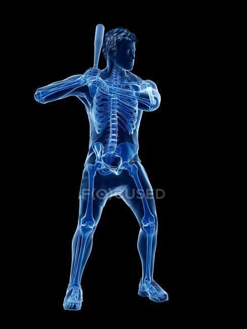 Skeleton of baseball player in action, computer illustration. — Stock Photo