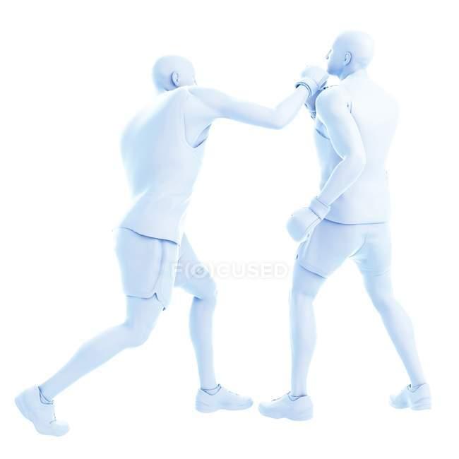 3d ilustración digital de dos hombres abstractos que boxean sobre fondo blanco. - foto de stock