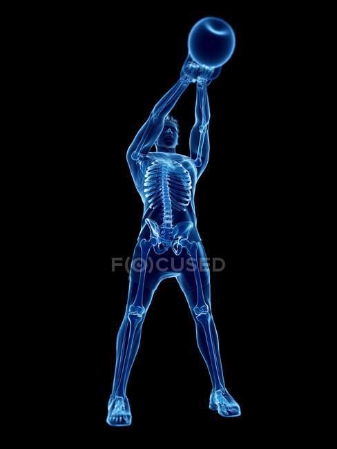 Huesos esqueléticos del hombre haciendo entrenamiento de kettlebell, ilustración digital conceptual . - foto de stock