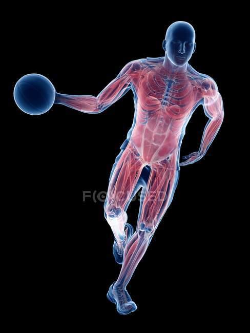 Maschio muscoli giocatore di basket durante la corsa con la palla, illustrazione del computer . — Foto stock